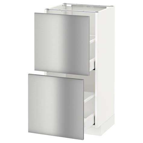 metod maximera base cabinet with 2 drawers white grevsta stainless steel 40x37 cm ikea