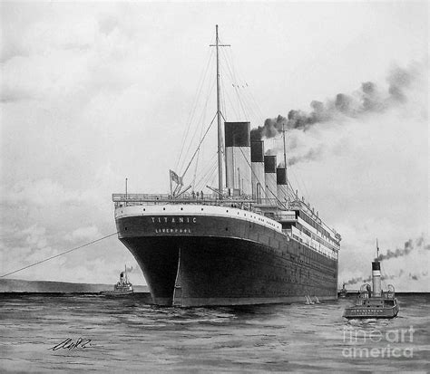 Englisch Stern Boat by Titanic Leaving Belfast Drawing By Anthony Strublic