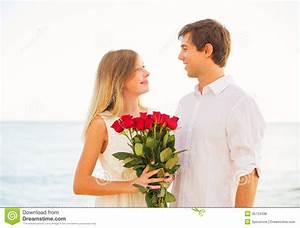 Romantic Young Couple In Love, Man Giving Beautiful Young ...