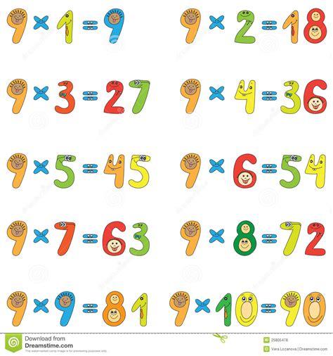 table de multiplication de 9 photos libres de droits image 25805478