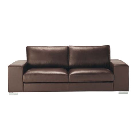 canap 233 3 4 places en cuir marron new york maisons du monde