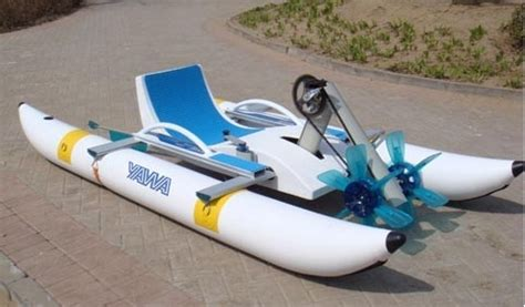 Inflatable Boat With Drive Wheels by Water Pedal Boats