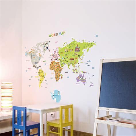 stickers pour les b 233 b 233 s sticker carte du monde g 233 ante pour enfants ambiance sticker