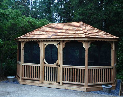 Gazebo : Red Cedar Single Roof-sided Oval Gazebos