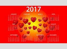 Картинка 2017 Английский Сердце Календарь