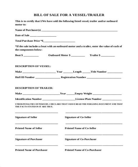 Boat Bill Of Sale Rya by Sle Boat Bill Of Sale Form 8 Free Documents In Pdf