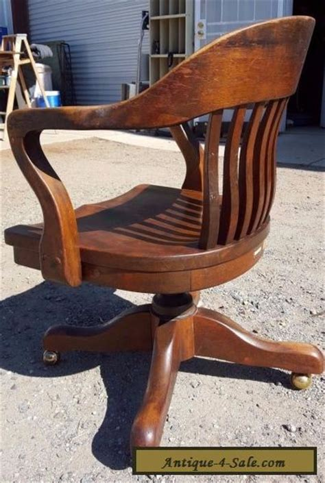 antique solid oak wood swivel chair bankers barrel office