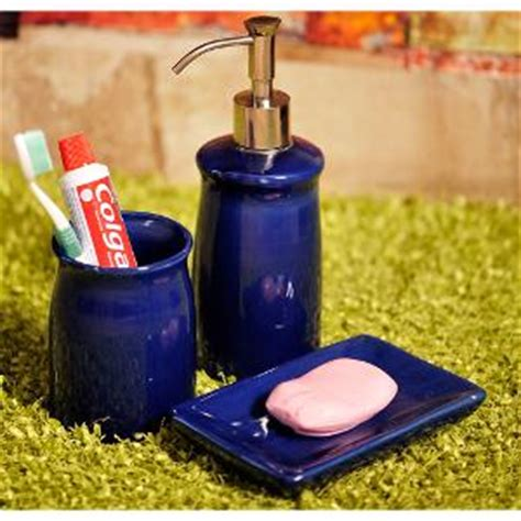 exclusivelane ceramic bathroom accessory set of 3 royal blue bath sets homeshop18