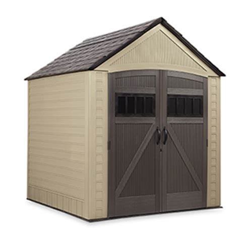 rubbermaid plastic vertical outdoor storage shed 17 cubic foot 25 x 30 x 72 inches