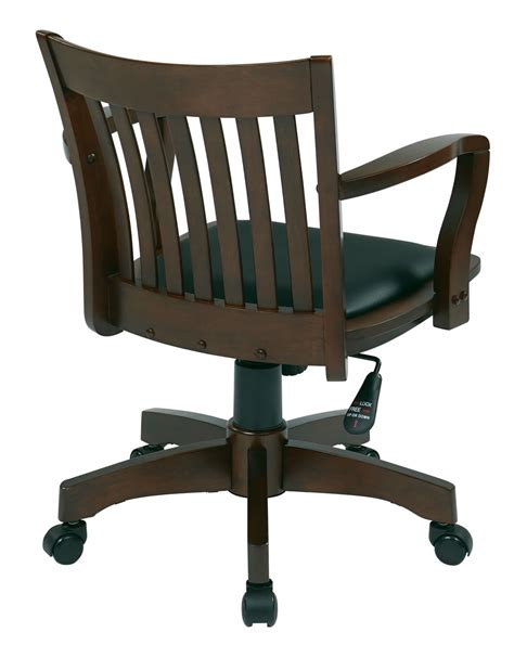 espresso finish mission swivel bankers office wood chair w arms padded seat chairs