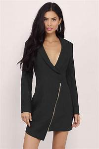 Sexy Black Wrap Dress - Long Sleeve Dress - Wrap Dress ...