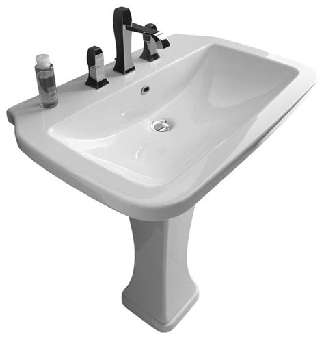 White Pedestal Sinks by Nova Pedestal Sink In Ceramic White 29 5 Quot Contemporary