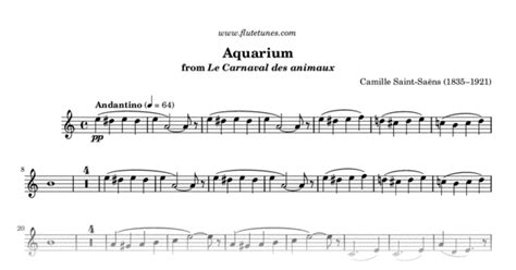 aquarium from the carnival of the animals c sa 235 ns free flute sheet flutetunes