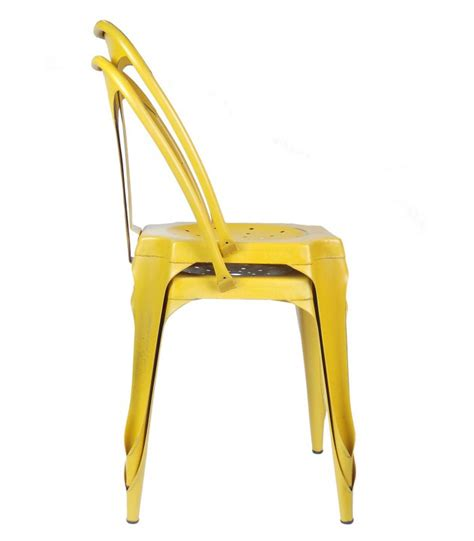 industrial style chair in yellow vintage metal wadiga