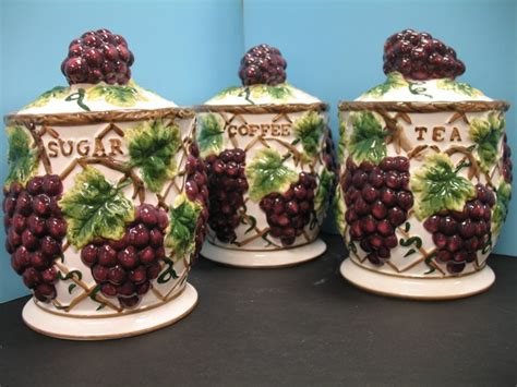 Grape Accessories For Kitchen by 3 Pcs 3d Grape Canister Set Kitchen Decor Vineyard Wine