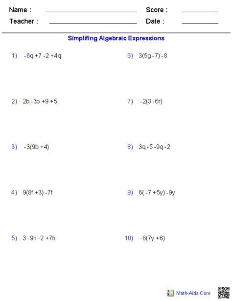 Prealgebra Worksheets  Algebraic Expressions Worksheets