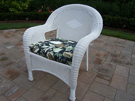 oakland living white resin wicker arm chair with cushions set of 2 90030 c bf wt oakland living
