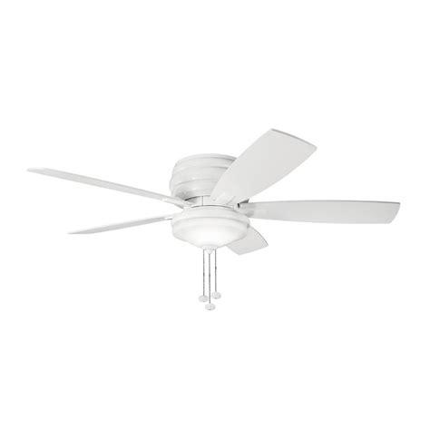 shop kichler lighting windham 52 in white flush mount indoor ceiling fan with light kit 5 blade