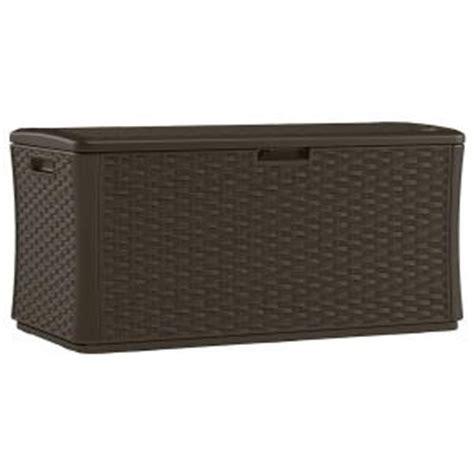 suncast bmdb134004 134 gal resin wicker deck box from