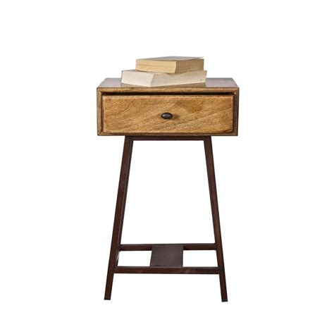 Table D'appoint Bois Métal Vintage Frem Par Drawer