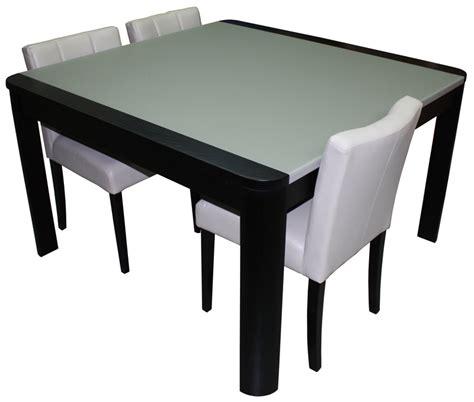 table de repas carr 233 e avec angles arrondis 1 allonge en bout ch 234 ne weng 233 noir verre mat