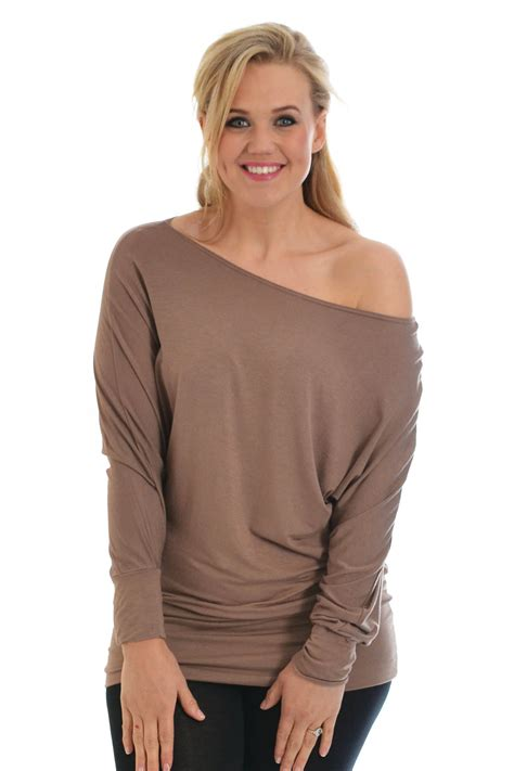 Boat Neck Off Shoulder Top by New Ladies Top Womens Batwing Slouch Boat Neck Off