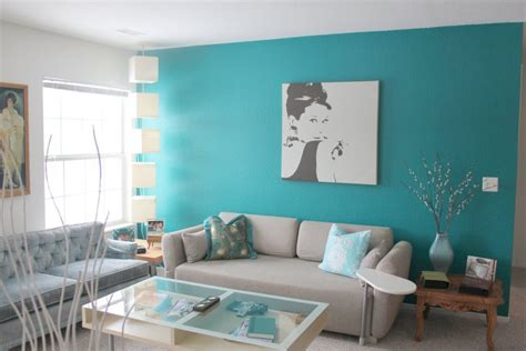 Turquoise-painted-living-room-wall-closed-to-light-colored Small Living Room Big Furniture Compact Design Modern Murals Create Your Own Colors Decor Styles With Staircase Sale On Chairs Maple