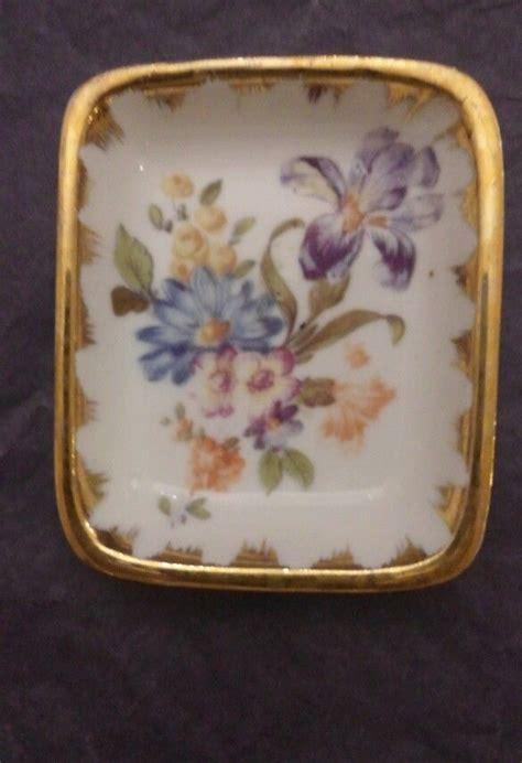 vintage pate de limoges couleuvre le gro dish white gold trim flowers limoges