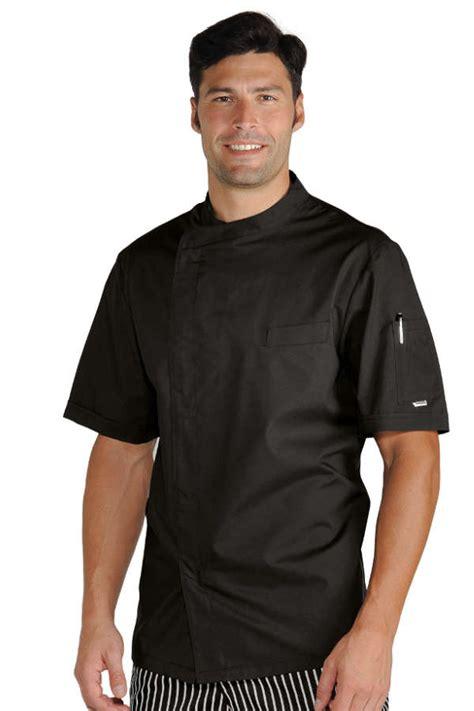 veste chef cuisinier noir tissu ultra l 233 ger vestes de cuisine veste de cuisine manches courtes