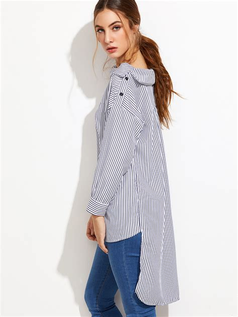 Fold Over Boat Neck Dress by Vertical Striped Fold Over Boat Neck High Low Blousefor
