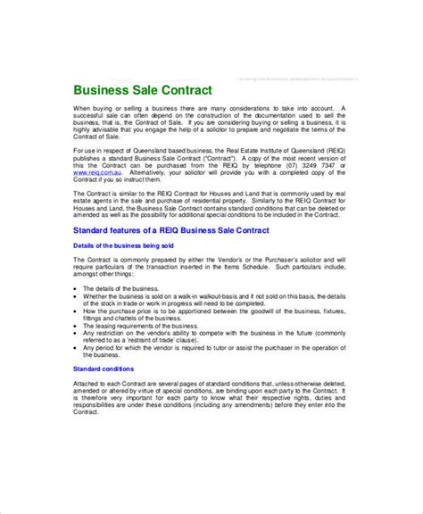 business sale contract free template vic sle business sale contract 6 exles in word pdf