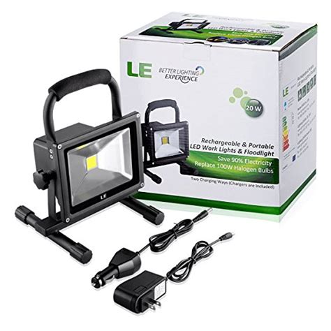 le 20w rechargeable portable led work light 100w halogen bulb equivalent 1400lm adapter and