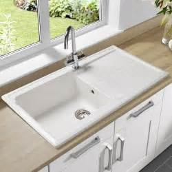 single bowl undermount sink with drain board made of porcelain in white finish kitchen sinks