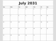 June 2031 Monthly Printable Calendar