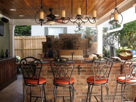 Outdoors Bar : Alluring Hanging Candle Holder Above Rustic Counter Closed
