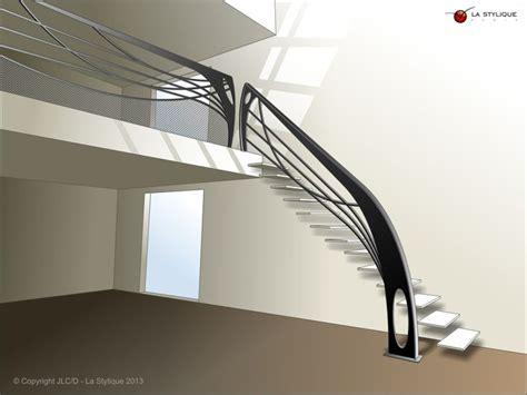 escalier design contemporain croquis avec garde corps cr 233 ation la stylique garde corps