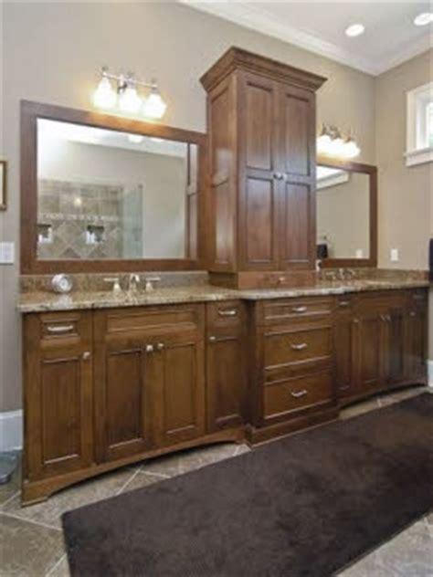 vanity with center storage tower bathroom