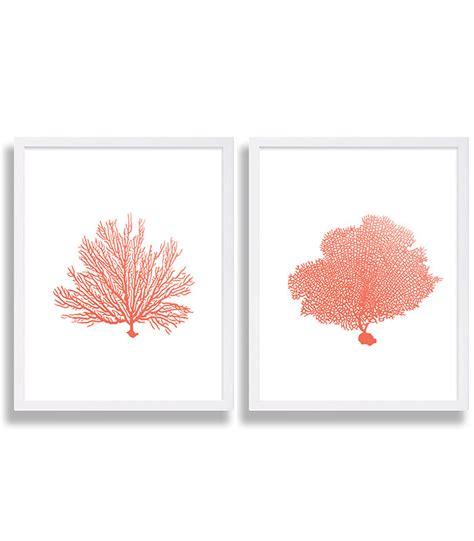 coral wall prints coral color decor coral prints water