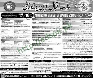 AIOU Admissions Open Semester Spring 2018 Late Fee ...