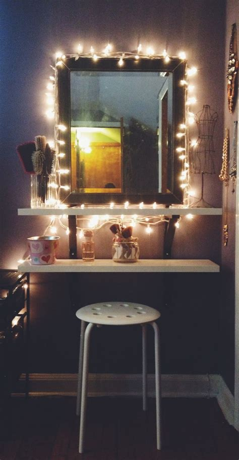 diy ikea hack vanity put shelves on wall beside mirror apartment string