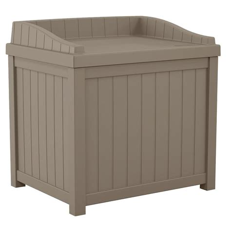 suncast 22 gal taupe small storage seat deck box ss1000dtd the home depot