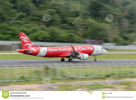 Airasia Airline Landing At Phuket Airport Editorial Stock Image - Image: 61527989