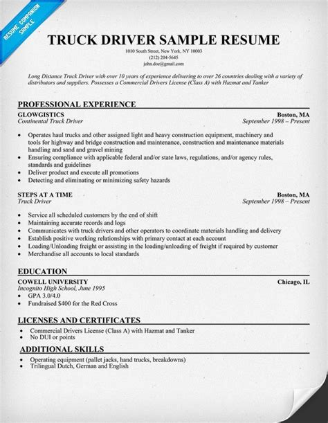 Sample Resume For Cdl Truck Drivers  Best Professional