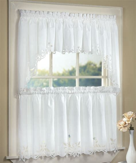 battenburg lace cotton kitchen curtain white tiers swags valances new ebay