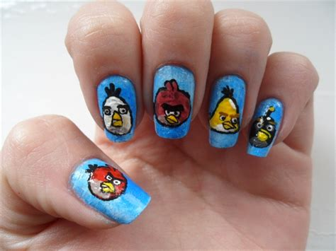 Phenomenal Blue Color Diffrent Designs Angry Bird Nail Art