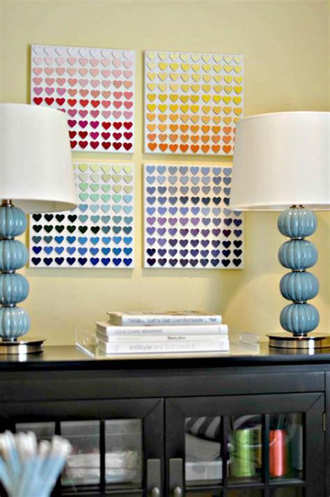 Paint Chip Heart Art Teen Room Decor Diy For Bedroom Decor