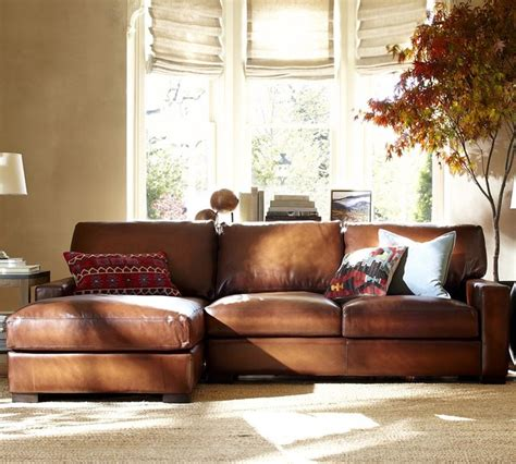 turner leather 2 sectional with chaise traditional