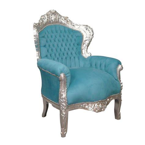 fauteuil baroque bleu turquoise meuble baroque