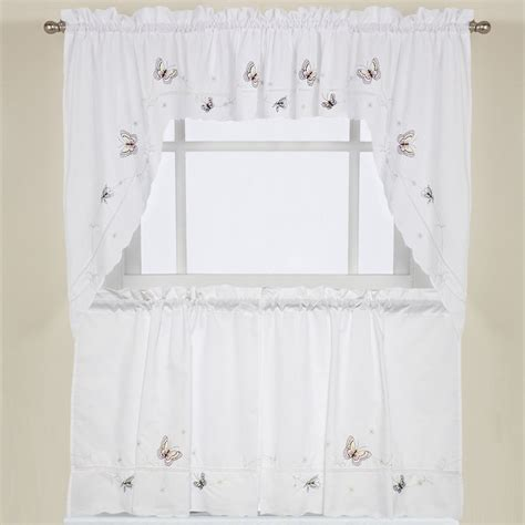 embroidered fluttering butterfly kitchen curtains tiers swag pairs and valance ebay