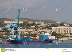 City, Port, Container Carrier. Marseille, France Stock ...